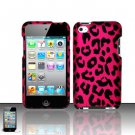 Hard Rubber Feel Design Case for Apple iPod Touch 4 - Pink Leopard