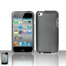 Hard Rubber Feel Design Case for Apple iPod Touch 4 - Carbon Fiber