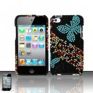 Hard Rhinestone Design Case for Apple iPod Touch 4 - Blue Butterfly