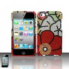 Hard Rhinestone Design Case for Apple iPod Touch 4 - Fall Flowers