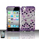 Hard Rhinestone Design Case for Apple iPod Touch 4 - Purple Gems