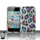 Hard Rhinestone Design Case for Apple iPod Touch 4 - Colorful Leopard