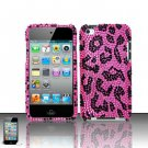 Hard Rhinestone Design Case for Apple iPod Touch 4 - Pink Leopard