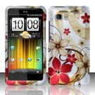 Hard Rubber Feel Design Case for HTC Vivid (AT&T) - Red Flowers