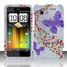 Hard Rhinestone Design Case for HTC Vivid (AT&T) - Purple Butterfly