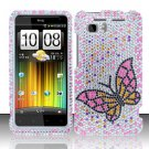 Hard Rhinestone Design Case for HTC Vivid (AT&T) - Fluorescent Butterfly