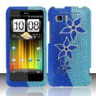 Hard Rhinestone Design Case for HTC Vivid (AT&T) - Blue Flowers