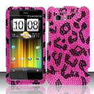 Hard Rhinestone Design Case for HTC Vivid (AT&T) - Pink Leopard