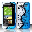 Hard Rubber Feel Design Case for HTC Radar 4G (T-Mobile) - Blue Vines