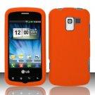 Hard Rubber Feel Plastic Case for LG Enlighten/Optimus Slider - Orange