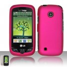 Hard Rubber Feel Plastic Case for LG Cosmos Touch VN270 (Verizon) - Rose Pink