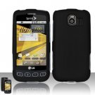Hard Rubber Feel Plastic Case for LG Optimus S/U/V - Black