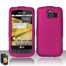 Hard Rubber Feel Plastic Case for LG Optimus S/U/V - Rose Pink