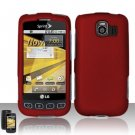 Hard Rubber Feel Plastic Case for LG Optimus S/U/V - Red