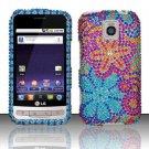 Hard Rhinestone Design Case for LG Optimus M/C - Purple Blue Flowers