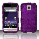 Hard Rhinestone Design Case for LG Optimus M/C - Purple Bling