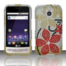 Hard Rhinestone Design Case for LG Optimus M/C - Red Flowers