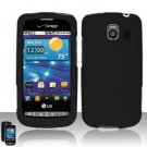 Hard Rubber Feel Plastic Case for LG Vortex VS660 (Verizon) - Black