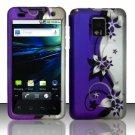 Hard Rubber Feel Design Case for LG Optimus 2X/G2x - Purple Vines