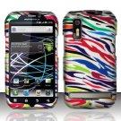Hard Rubber Feel Design Case for Motorola Photon 4G MB855 (Sprint) - Colorful Zebra