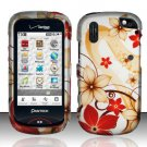 Hard Rubber Feel Design Case for Pantech Hotshot 8992 - Red Flowers