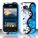 Hard Rubber Feel Design Case for LG myTouch Q C800 (T-Mobile) - Blue Vines
