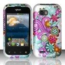 Hard Rubber Feel Design Case for LG myTouch Q C800 (T-Mobile) - Purple Blue Flowers