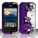 Hard Rubber Feel Design Case for LG myTouch Q C800 (T-Mobile) - Purple Vines