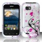 Hard Rubber Feel Design Case for LG myTouch Q C800 (T-Mobile) - Pink Garden