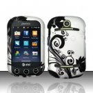 Hard Rubber Feel Design Case for Pantech Pursuit II P6010 - Black Vines