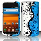 Hard Rubber Feel Design Case for Samsung Exhibit II 4G - Blue Vines