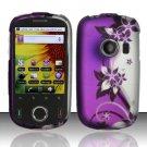 Hard Rubber Feel Design Case for Huawei M835 (MetroPCS) - Purple Vines