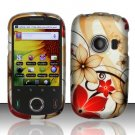 Hard Rubber Feel Design Case for Huawei M835 (MetroPCS) - Red Flowers