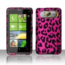 Hard Rubber Feel Design Case for HTC HD7/HD7S - Pink Leopard