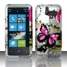 Hard Rubber Feel Design Case for HTC Arrive (Sprint) - Silver Butterfly