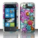 Hard Rubber Feel Design Case for HTC Arrive (Sprint) - Purple Blue Flowers