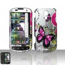 Hard Rubber Feel Design Case for Samsung Epic 4G - Silver Butterfly