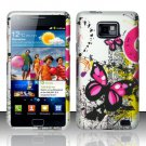 Hard Rubber Feel Design Case for Samsung Galaxy S II i777/i9100 (AT&T) - Silver Butterfly