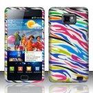 Hard Rubber Feel Design Case for Samsung Galaxy S II i777/i9100 (AT&T) - Colorful Zebra