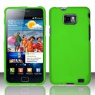 Hard Rubber Feel Plastic Case for Samsung Galaxy S II i777/i9100 (AT&T) - Neon Green