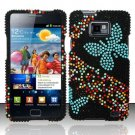 Hard Rhinestone Design Case for Samsung Galaxy S II i777/i9100 (AT&T) - Blue Butterfly