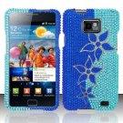 Hard Rhinestone Design Case for Samsung Galaxy S II i777/i9100 (AT&T) - Blue Flowers