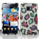 Hard Rhinestone Design Case for Samsung Galaxy S II i777/i9100 (AT&T) - Colorful Leopard