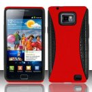 Hard Rubber Feel Hybrid Case for Samsung Galaxy S II i777/i9100 (AT&T) - Red
