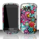 Hard Rubber Feel Design Case for Samsung Transform Ultra - Purple Blue Flowers
