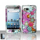 Hard Rubber Feel Design Case for HTC T-Mobile G2 - Purple Blue Flowers