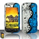 Hard Rubber Feel Design Case for HTC myTouch 4G (T-Mobile) - Blue Vines