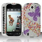 Hard Rhinestone Design Case for HTC myTouch 4G Slide (T-Mobile) - Purple Butterfly