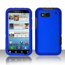 Hard Rubber Feel Plastic Case for Motorola Defy MB525 (T-Mobile) - Blue