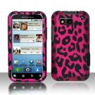 Hard Rubber Feel Design Case for Motorola Defy MB525 (T-Mobile) - Pink Leopard